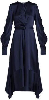 Jonathan Simkhai Asymmetric Satin Midi Dress - Womens - Navy