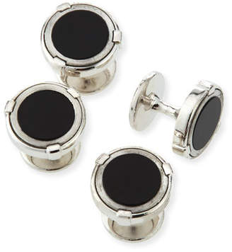 Dunhill Latch Silver Shirt Studs with Onyx