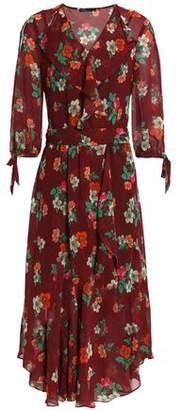 Maje Ruffled Floral-Print Georgette Wrap Dress