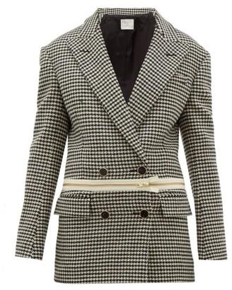 Hillier Bartley Detachable Hem Houndstooth Wool Jacket - Womens - Black Multi