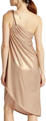 Halston One-Shoulder Draped Metallic Dress