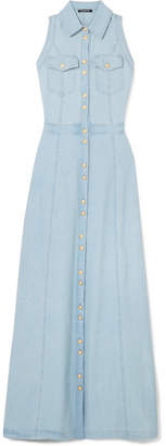 Balmain Sleeveless Denim Maxi Dress - Blue
