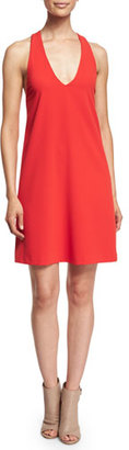 Alice + Olivia Sleeveless Halle Crepe Shift Dress, Red $275 thestylecure.com