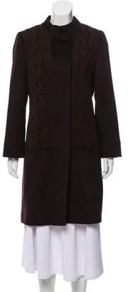 Loro Piana Virgin Wool Cable Knit-Accented Coat
