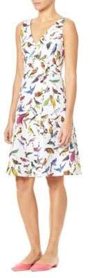 Carolina Herrera Bird Print Stretch-Cotton Day Dress