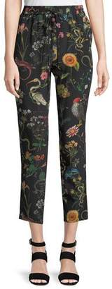 RED Valentino Flora and Fauna Floral-Print Silk Track Pants