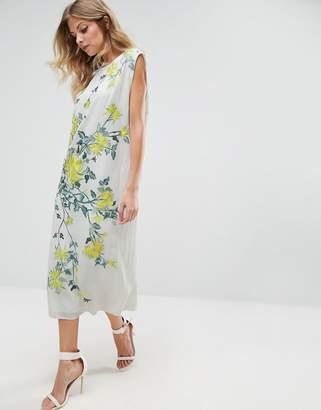 Asos DESIGN Fluro Embroidered Drop Armhole Tshirt Dress
