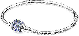 Pandora Silver And Crystal Signature Clasp Bracelet