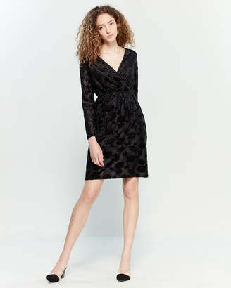 Yumi Black Flocked Floral Surplice Dress