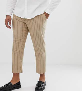 Asos Design DESIGN Plus skinny crop smart trouser in stone pinstripe wool mix