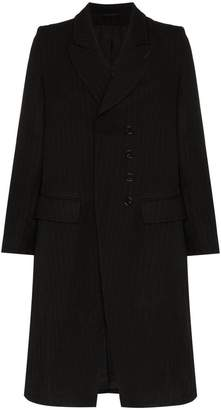 Ann Demeulemeester double breasted stripe virgin wool blend overcoat