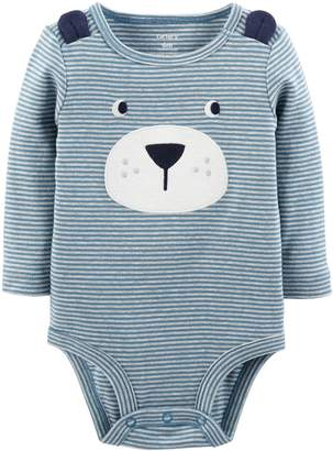 Carter's Baby Boy Striped Embroidered Bear Bodysuit