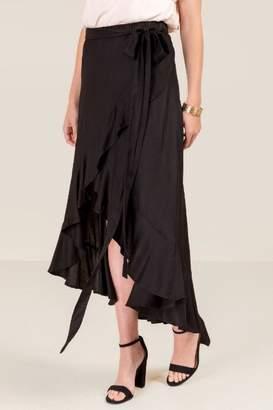francesca's Liza Tie Waist Wrap Skirt - Black