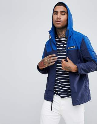 Timberland zip through jacket with hood in navy/blue