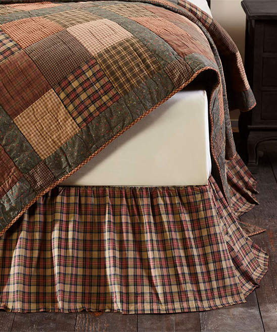 Brown Plaid Crosswoods Bed Skirt