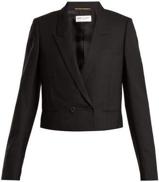 Saint Laurent Textured Wool Cropped Jacket - Womens - Black