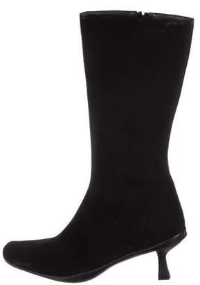 Stuart Weitzman Canvas Square-Toe Boots