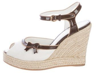 Louis Vuitton Peep-Toe Espadrille Wedges