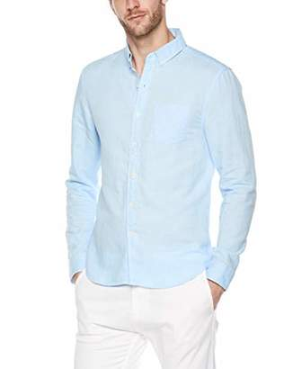 Trimthread Men's Casual Long Sleeve Slim Fit Squared Collar Lightweight Linen Buttoned Shirt Top (