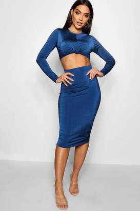 boohoo Knot Long Sleeve Front Crop and Midi Skirt