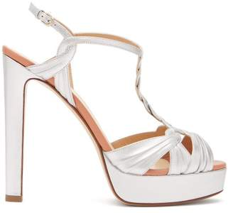 Francesco Russo Metallic Leather Platform Sandals - Womens - Silver