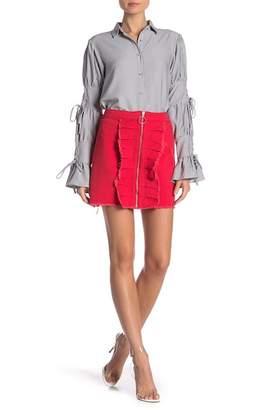 LOST INK Denim Zip Frill Mini Skirt