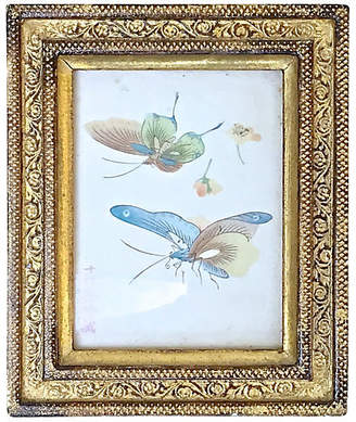 One Kings Lane Vintage Framed Butterflies on Silk - Vermilion Designs
