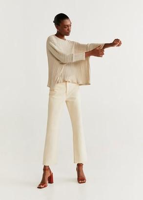 MANGO Metallic thread t-shirt beige - XXS-XS - Women