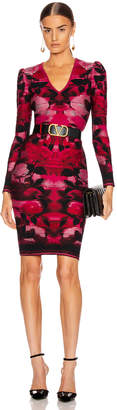 Alexander McQueen Long Sleeve V Neck Dress in Red & Pink | FWRD