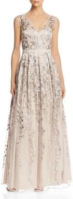 Eliza J Embellished Tulle Overlay V-Neck Gown