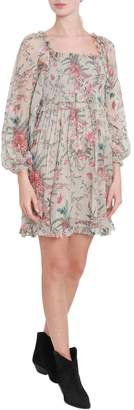 Zimmermann Floral Printed Off-shoulder Short Dress