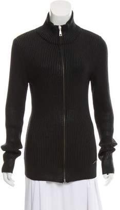 Versace Long Sleeve Zip-Up Cardigan