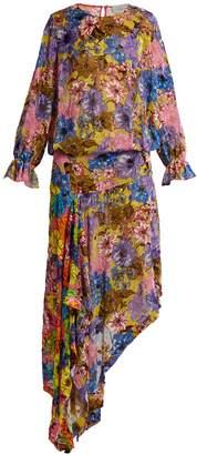 Preen by Thornton Bregazzi Clara floral-print velvet-devoré dress