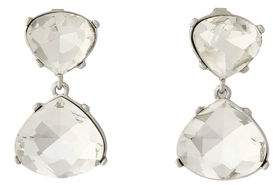 Kenneth Jay Lane Silver-Tone Crystal Clip Earrings