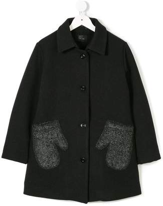 Lost And Found Kids glove-shaped pockets buttoned coat