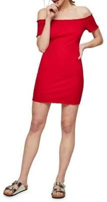 Miss Selfridge Off-the-Shoulder Lettuce Mini Bodycon Dress