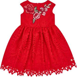 Carrera Pili Cap-Sleeve Lace Dress w\/ Flower Applique Size 4-10