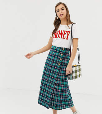 Glamorous midi skirt with pleated side in check