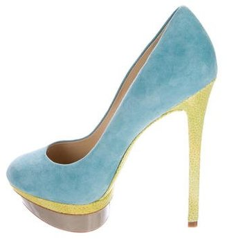 Brian Atwood Suede Round-Toe Pumps $165 thestylecure.com