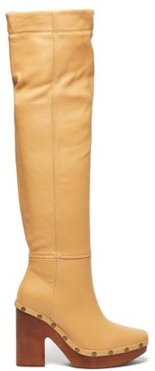 Jacquemus Sabots Leather Over The Knee Boots - Womens - Cream