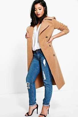 boohoo Petite Erin Belted Wool Look Robe Duster Coat