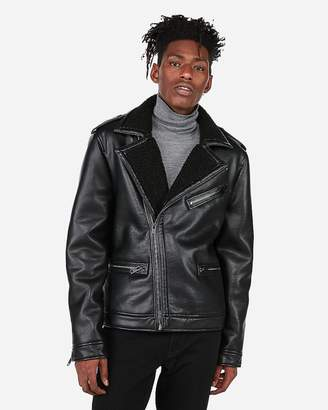 Express Minus The) Leather Shearling Asymmetrical Jacket