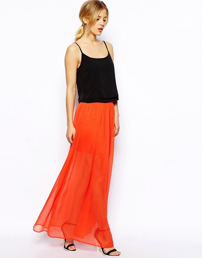 Asos Wrap Maxi Skirt In Chiffon
