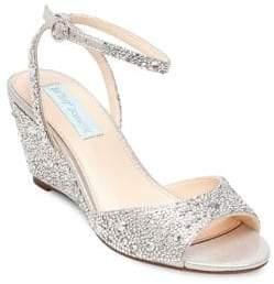 Betsey Johnson Blue Elora Embellished Ankle-Strap Wedge Sandals