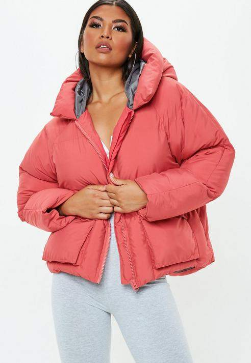 Pink Oversized Hooded Ultimate Puffer Jacket, Red