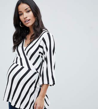Asos Nursing DESIGN Maternity nursing kimono wrap top in stripe