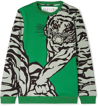 Valentino Embellished Printed Cotton-blend Jersey Sweatshirt - Green