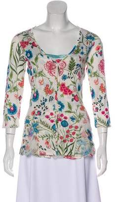 Christian Dior Silk Floral Print Cardigan Set