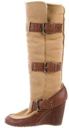 Fendi Shearling Knee-High Boots