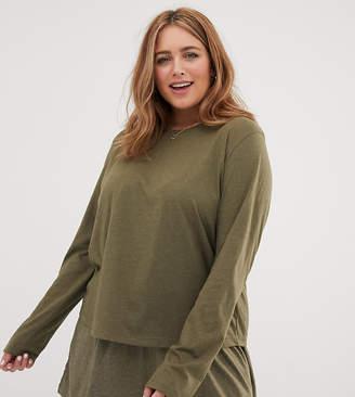 Asos DESIGN Curve mix   match marl long sleeve pyjama jersey t-shirt 26d259819